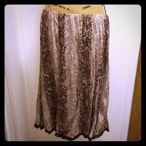 Snakeskin Cheetah Lace Brown Tribal Midi Skirt